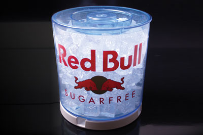Medium illuminated icebucket with in-mould label for Red Bull®