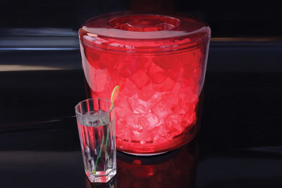 Large illuminated icebucket in red.
