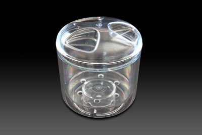 Round Mk1 icebucket with domed lid in clear.